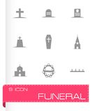 Vector black funeral icons set Stock Photos