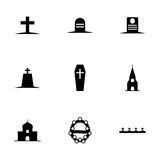 Vector black funeral icons set Royalty Free Stock Image