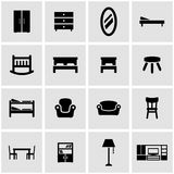 Vector black furniture icon set Stock Photo