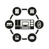 Vector black furniture icon set Stock Image