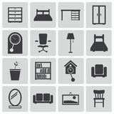 Vector black  furniture icons Stock Photos
