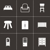 Vector black furniture icons set. On black background Royalty Free Stock Photography