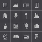 Vector black  furniture icons set Royalty Free Stock Photo