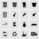 Vector black garbage icon set Royalty Free Stock Image