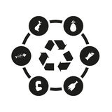 Vector black garbage icon set Stock Photo