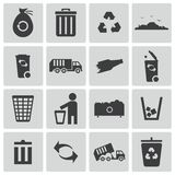 Vector black  garbage icons Stock Photos
