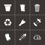 Vector black garbage icons set Royalty Free Stock Image