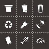 Vector black garbage icons set. On black background Royalty Free Stock Image