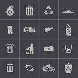 Vector black  garbage icons set Stock Photo
