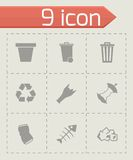 Vector black garbage icons set Stock Photos