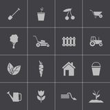 Vector black  gardening icons set Stock Images