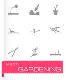 Vector black gardening icons set Stock Photo