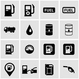Vector black gas station icon set Stock Photography
