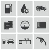 Vector black gas station icons set Stock Photography