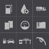 Vector black gas station icons set Royalty Free Stock Photos