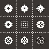 Vector black gear icons set. On black background Stock Photo