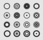 Vector black gearwheel. Icons set on gray Royalty Free Stock Images