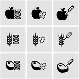 Vector black genetically modyfied food icon set. On grey background royalty free illustration