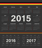 Vector black german circle calendars 2015, 2016, 2017. Week starts from Monday Stock Photo