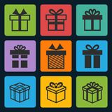 Vector black gift box icons set Royalty Free Stock Photos