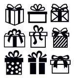 Gift icon. Vector black gift icon set on white vector illustration