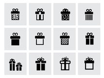 Vector black gift icon set on white Royalty Free Stock Images