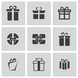 Vector black gift icons set Stock Photos