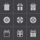 Vector black gift icons set Royalty Free Stock Photo