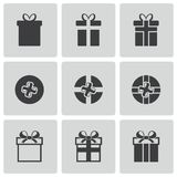 Vector black gift icons set Royalty Free Stock Photography