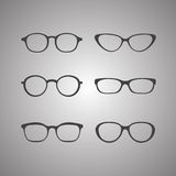Vector black glasses icons set on white background Royalty Free Stock Photos