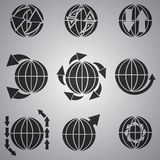 Vector black globe icon set. Grey background Stock Photography