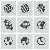 Vector black globe icons set. This is file of EPS10 format Royalty Free Stock Photo