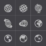 Vector black globe icons set. This is file of EPS10 format Stock Illustration