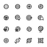 Vector black globe icons set. On white background Stock Photos