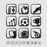 Vector Black Glossy Football / Soccer Icons Set. Stock Photo