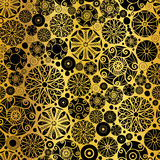 Vector Black Gold Abstract Doodle Circles Seamless Pattern Background. Great for elegant texture fabric, cards, wedding Stock Image