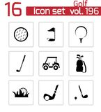 Vector black golf icons set Royalty Free Stock Photography