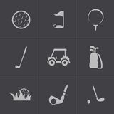 Vector black golf icons set Stock Photography