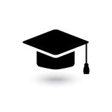 Vector black graduate cap icon. Isolated on a white background Royalty Free Stock Photography