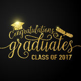 Vector on black graduations background congratulations graduates 2017 class Stock Photos