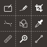 Vector black graphic design icons set. On black background Royalty Free Stock Photos