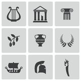Vector Black Greece Icons Set Stock Images