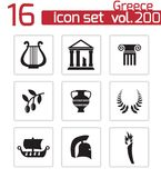 Vector black greece icons set Royalty Free Stock Images