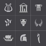 Vector black greece icons set Royalty Free Stock Image