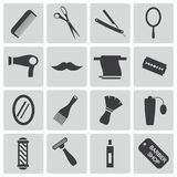 Vector black hair and  icons Royalty Free Stock Photo