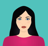 Vector black haired woman Royalty Free Stock Images