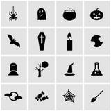 Vector black halloween icon set Stock Image