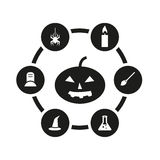 Vector black halloween icon set Royalty Free Stock Images
