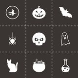 Vector black halloween icons set Royalty Free Stock Image