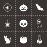 Vector black halloween icons set. On black background Royalty Free Stock Image